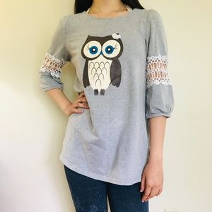 Adorable Light Grey Owl Shirt with Embedded Sleeve